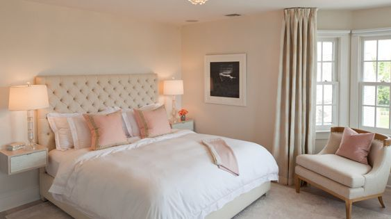 stunning pink and beige bedroom with soft pink wall color