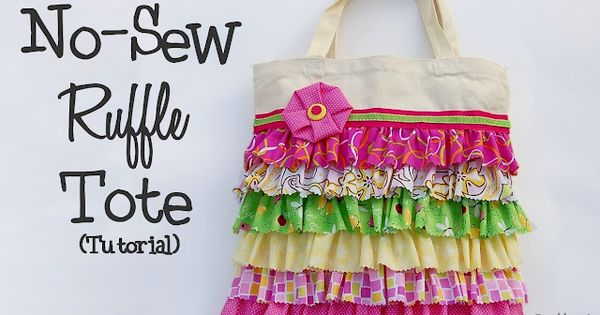 No Sew Ruffle Tote Tutorial ... great use for all those tote
