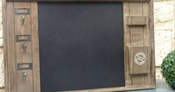 style ancien porte clef cles boite a courrier lettre ardoise pense bete mural creation recup. Black Bedroom Furniture Sets. Home Design Ideas