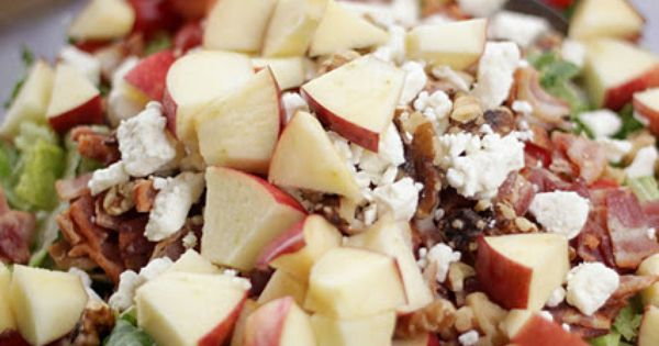 Amazing Raspberry Vinaigrette Salad! it has bacon, apples, walnuts, feta cheese 2-3