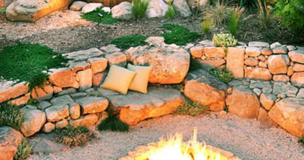 I can dream!! Stone landscaping around fire pit and hot tub; Grace