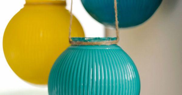 Upcycle glass light globes into hanging globe lanterns