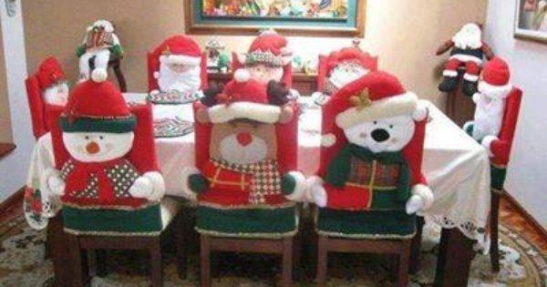 Fundas para sillas adornos navidad pinterest for Decoracion christmas navidenos