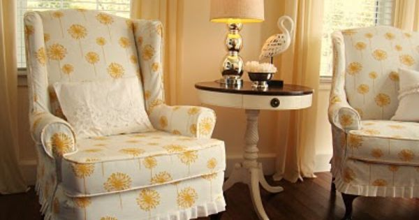 White corn yellow dandelion slipcovers for wingback chairs 2
