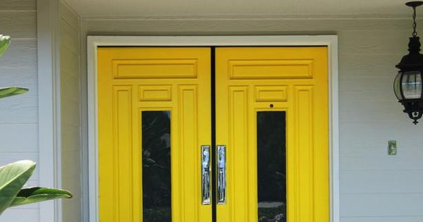 This bold front door from designer Nathan Fischer creates a striking contrast