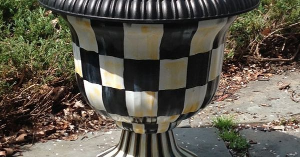 Black & White Checked Garden Urns