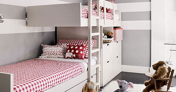 grey/white stripe wall / kids bedroom