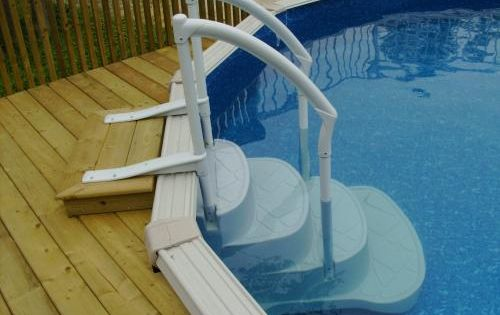 Above ground pool decks steps for opening your above ground pool patio deck designs idea - Above ground pool steps for decks ...