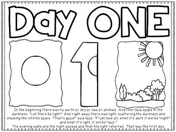 Creation Day Two Coloring Page Activities For 1 Year Olds