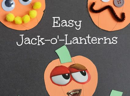 Easy jack o' lantern collage craft for preschoolers to go along with
