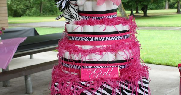 Hot Pink Zebra Print baby girl Diaper Cake idea for andrea and