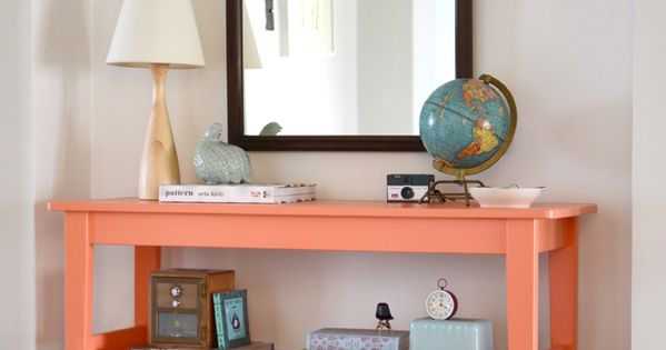 "Adorable passionfruit colored ""dipped"" Entryway table made from an IKEA hack"