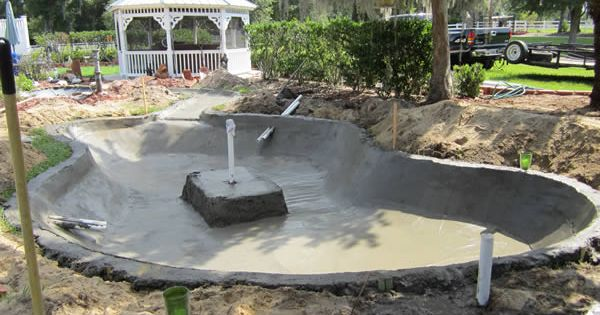 Cement ponds concrete construction with stream from for Concrete pond construction