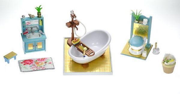 Fistuff Sylvanian Families Luxury Gold Decorated Bathroom Set Fab Extras Ebay Gold Decor Bathroom Decor Sylvanian Families