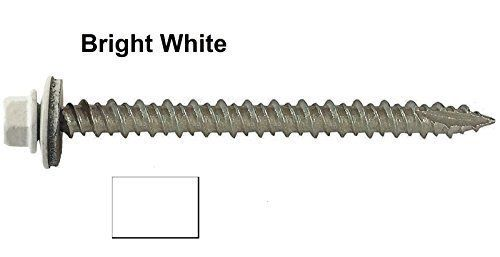 Metal Roofing Screws 250 Screws X 2 1 2 Quot Bright White Hex Washer Head Sheet Metal Roof Screw Self S Roofing Screws Corrugated Roofing Screws And Bolts