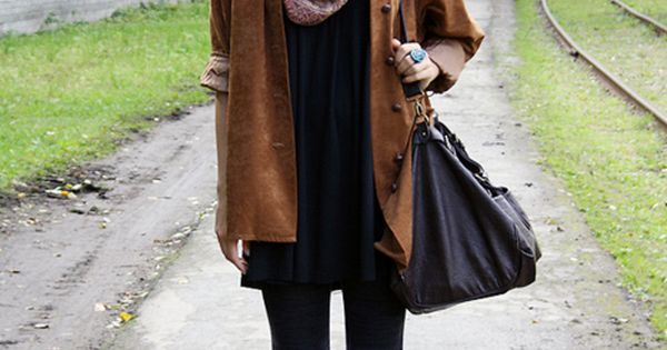 black tights cognac ankle boots with leather jacket & scarf...