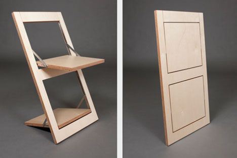 Super Simple Flat Pack Idea To Reinvent The Folding Chair Flat Pack Furniture Folding Furniture Foldable Furniture