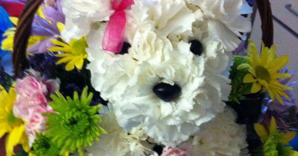 puppy flower arrangement instructions