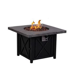 Afterglow Cottage 34 In Square Terrafab Slate Look Top With Steel Base Propane Gas Fire Pit Fw Ctgsqfp The Home Depot Gas Firepit Square Fire Pit Fire Pit
