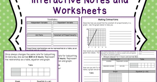 proportional relationships interactive notes and worksheets 7 rp 3 students represent. Black Bedroom Furniture Sets. Home Design Ideas