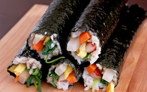 Kimbap, a sort of Korean sushi roll (without raw fish); you can