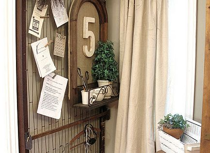 Old bed springs - best bulletin board ever! Love the curtain idea