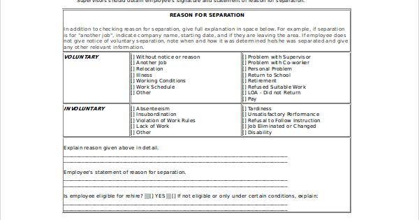 sample separation notice template free documents download pdf doc - statement form in doc