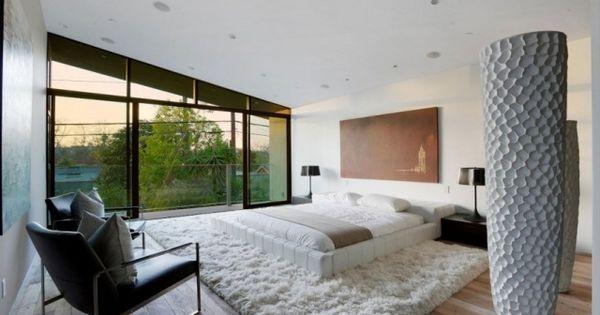 schlafzimmer modern holzboden weißer shaggy teppich balkon - schlafzimmer modern bilder