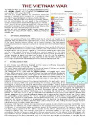 English Worksheet The Vietnam War Reading Comprehension With
