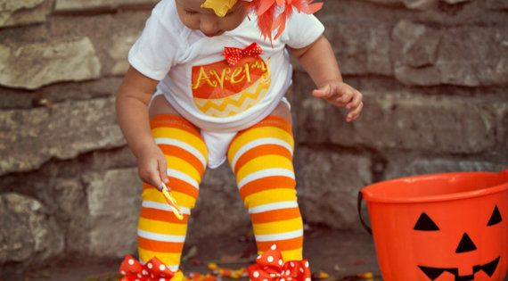 Baby Girl Halloween Outfit - Candy Corn Sweetie - personalized onesie, leg