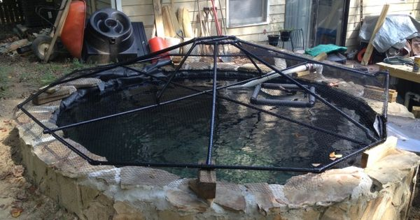 Another diy pond cover garden pond maintenance filters for Backyard pond maintenance