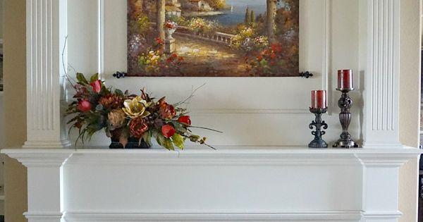 Tuscan fireplace mantle arrangement silk flower