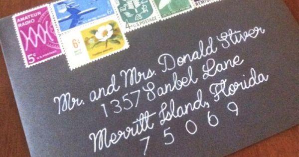 Wedding Invitation Envelopes Vintage Stamps White