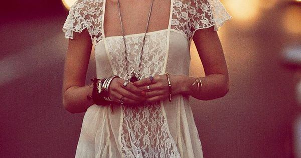 boho lace top w ripped jeans and a few bangles