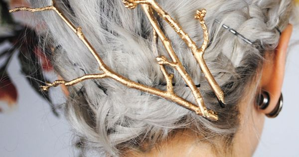 DIY gold twigs hair pins