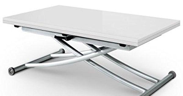 Menzzo B2219s Contemporain Carrera Table Basse Relevable Bois Metal Noir Carbone 57 100 X 100 114 2 X 39 76 3 Cm Butor