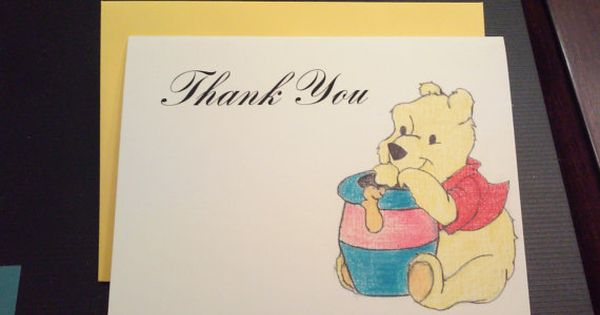 Sip /& See Winnie the Pooh Thank You Cards  DIGITAL YOU PRINT  Pooh Bear Blue Shirt Pink Heart  Baby Shower Birthday  Invite Available