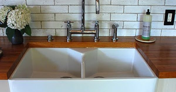 Oooh Love The Split Farmhouse Sink And Butcher Block