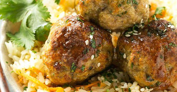 Baked Asian Turkey Meatballs & Carrot Rice | Recipe | Turkey Meatballs ...