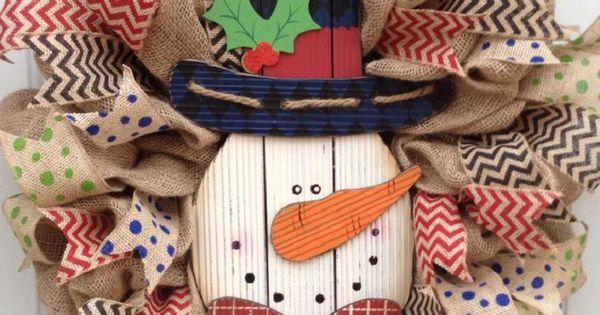 Burlap Snowman Christmas Wreath - 12 Jolly DIY Door Displays to Greet