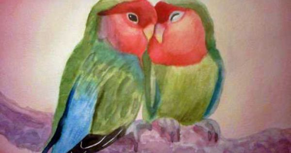 Love birds my very first attempt at watercolor art for My first watercolor painting