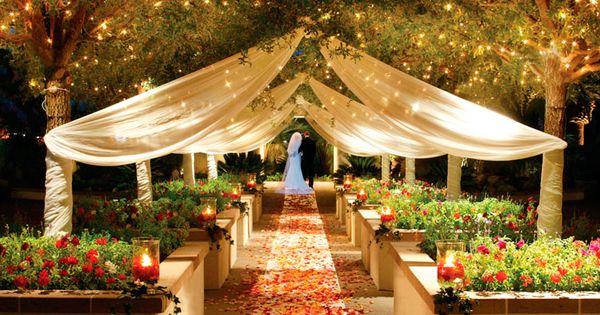 Outdoor Wedding Ceremony At Dusk