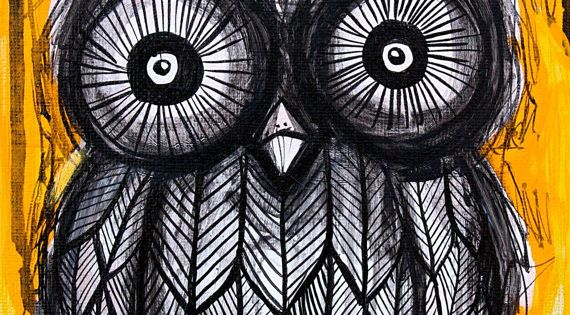 Owl Art Black and Yellow Print - 8x10 - acrylic sketch black