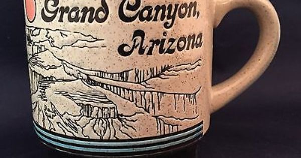 Vintage Stoneware Grand Canyon Arizona Souvenir Coffee Mug Cup Etched Scenic 3d Mugs Mug Cup Cup