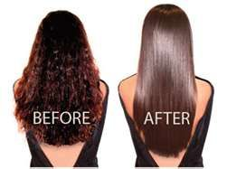 How To Chemically Straighten Hair At Home Keratin Hair Treatment Dry Hair Treatment Straightening Curly Hair