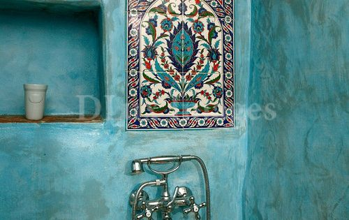 Bohemian Homes: Turquoise Shower room... take out that picture in the back..