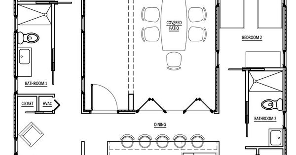U shaped floor plan using only 3 shipping containers for U shaped container home