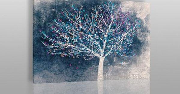 30602 Obraz Na Plotnie Drzewo Liscie Granatowy 6528518562 Oficjalne Archiwum Allegro Painting Art