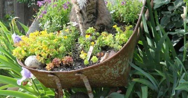 D coration jardin en objets de r cup ration en 31 id es rus es decoration j - Idee recuperation jardin ...