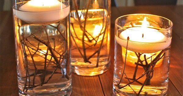 Centro de mesa decoraci n de bodas con velas flotantes y - Centros de mesa con velas ...